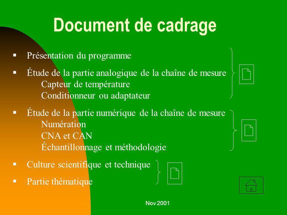 Document de cadrage Présentation du programme