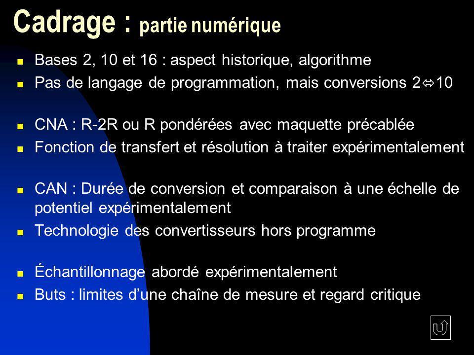 Cadrage : partie numérique