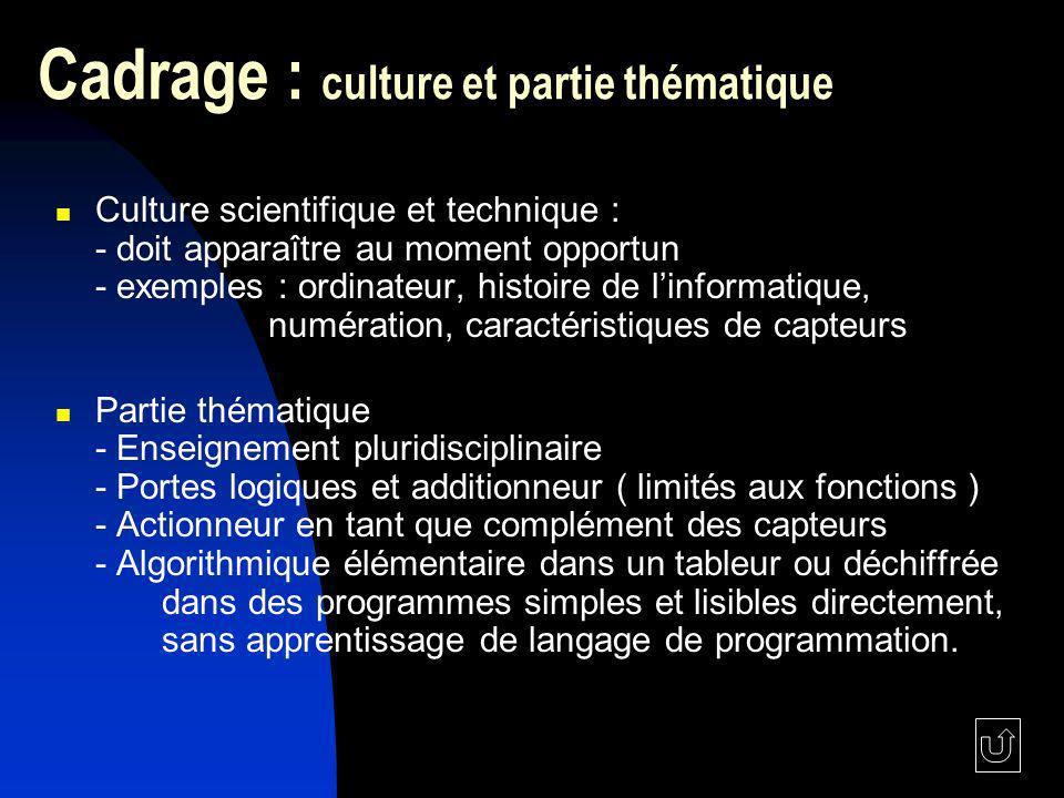 Cadrage : culture et partie thématique