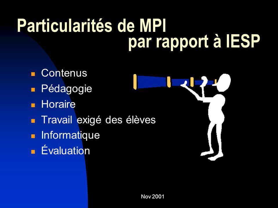 Particularités de MPI par rapport à IESP