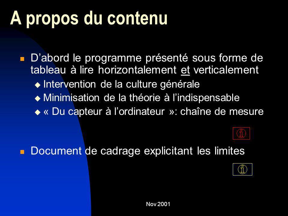 A propos du contenuD'abord le programme présenté sous forme de tableau à lire horizontalement et verticalement.