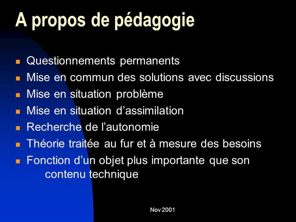 A propos de pédagogie Questionnements permanents