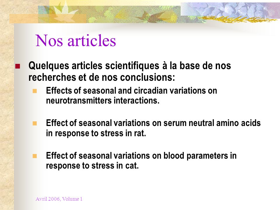 Nos articles Quelques articles scientifiques à la base de nos recherches et de nos conclusions: