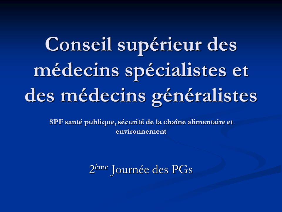 Conseil supérieur des médecins spécialistes et des médecins généralistes SPF santé publique, sécurité de la chaîne alimentaire et environnement