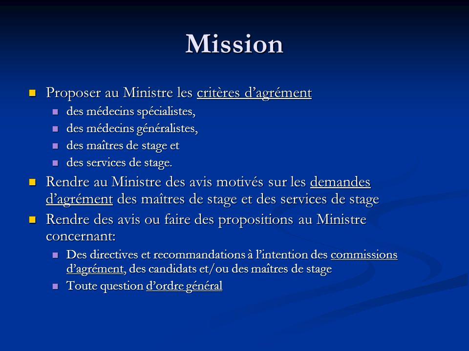 Mission Proposer au Ministre les critères d'agrément