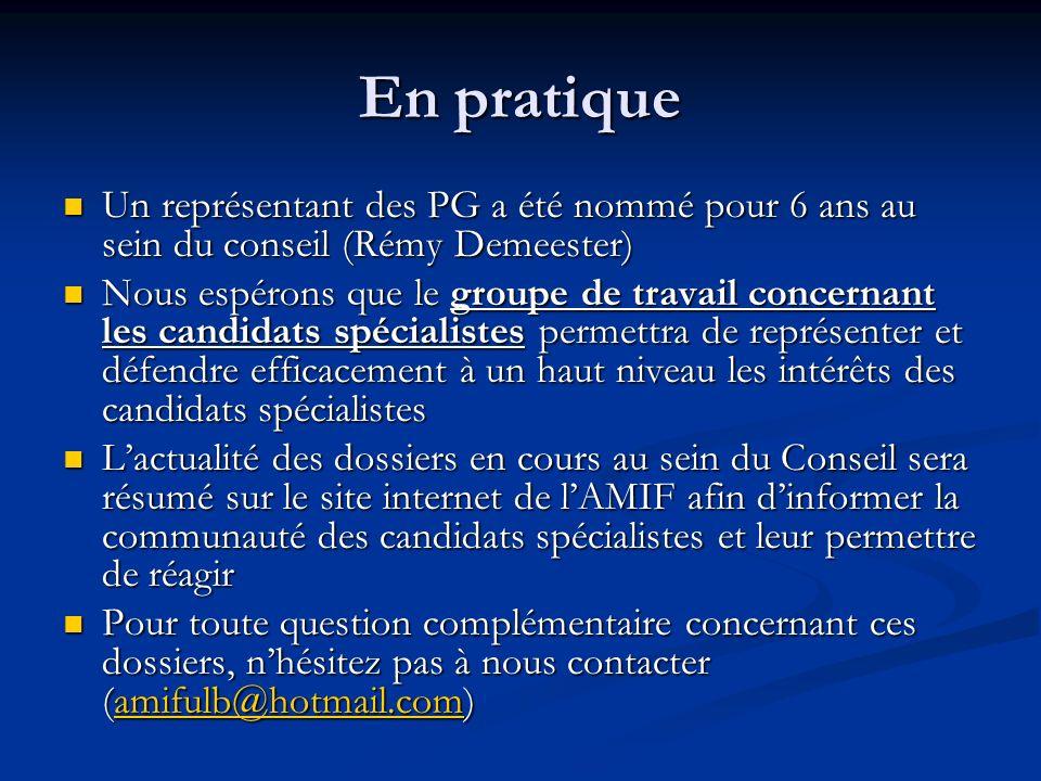 En pratiqueUn représentant des PG a été nommé pour 6 ans au sein du conseil (Rémy Demeester)