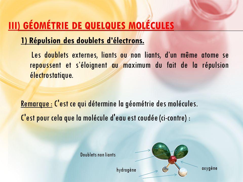 III) Géométrie de quelques molécules