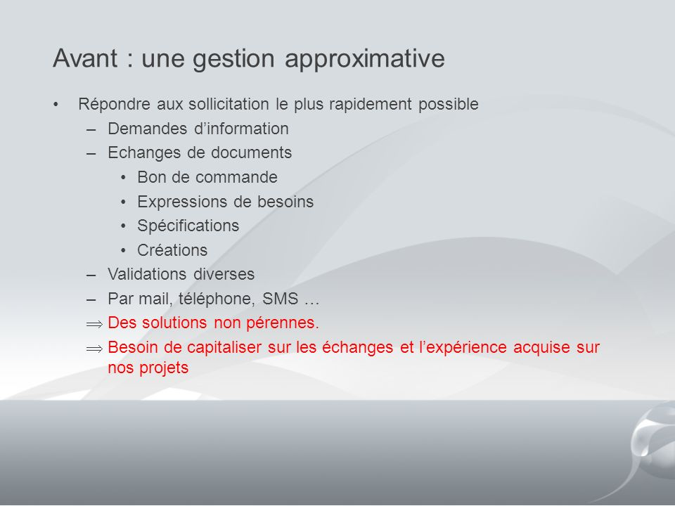 Avant : une gestion approximative