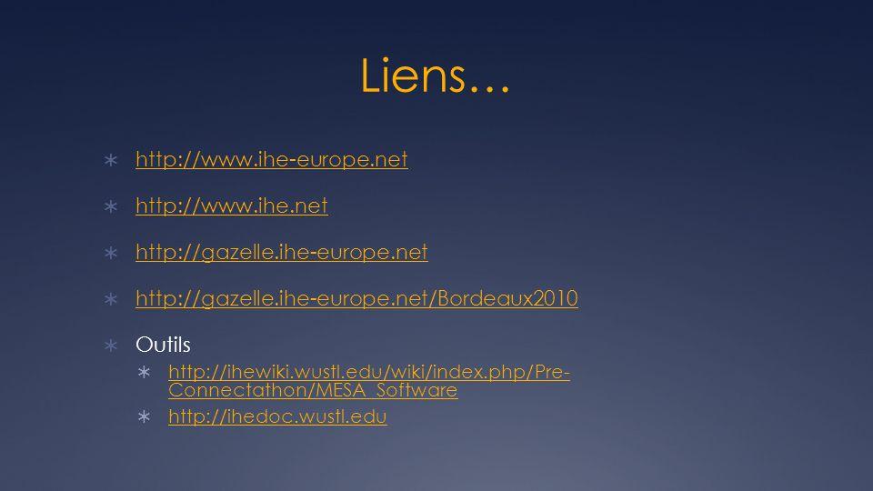 Liens… http://www.ihe-europe.net http://www.ihe.net