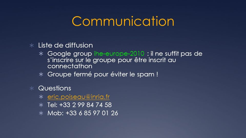 Communication Liste de diffusion Questions