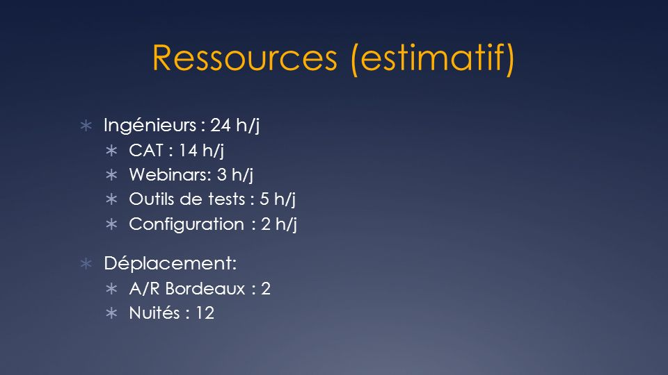 Ressources (estimatif)
