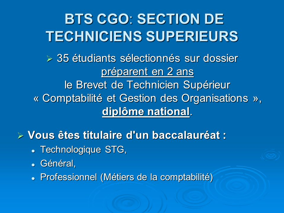 BTS CGO: SECTION DE TECHNICIENS SUPERIEURS