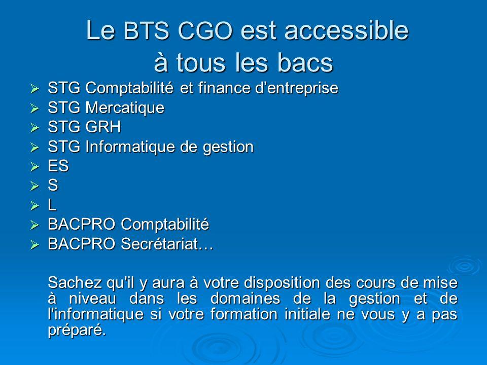 Le BTS CGO est accessible à tous les bacs