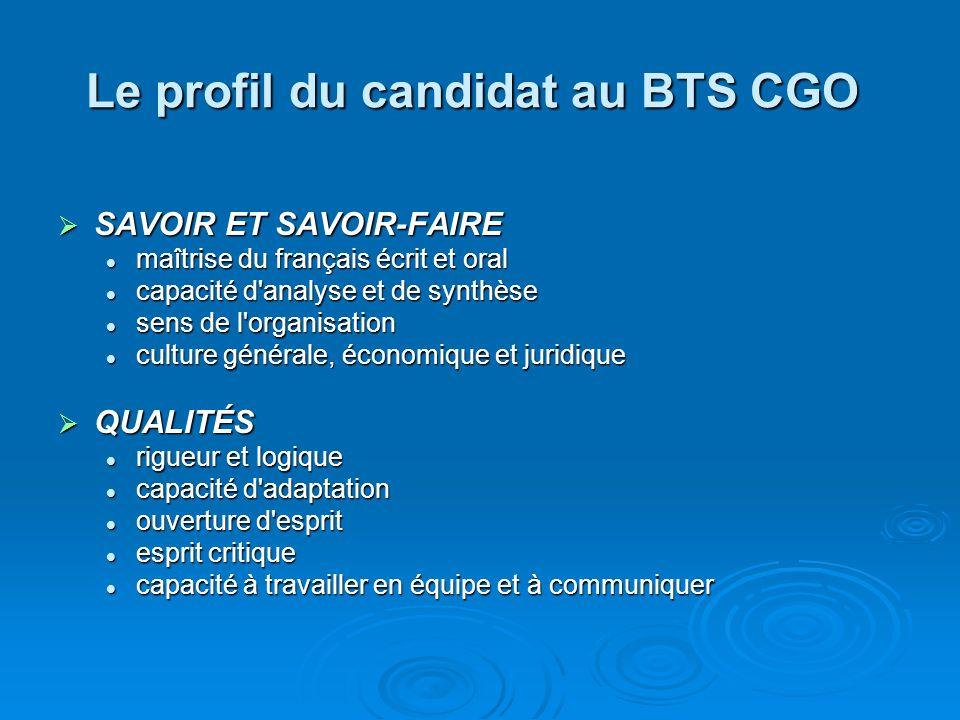 Le profil du candidat au BTS CGO
