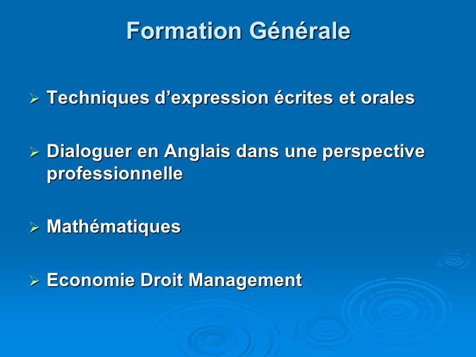 Formation Générale Techniques d'expression écrites et orales