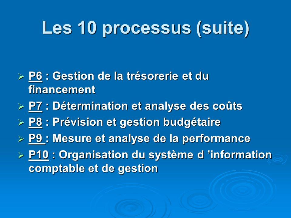 Les 10 processus (suite)P6 : Gestion de la trésorerie et du financement. P7 : Détermination et analyse des coûts.