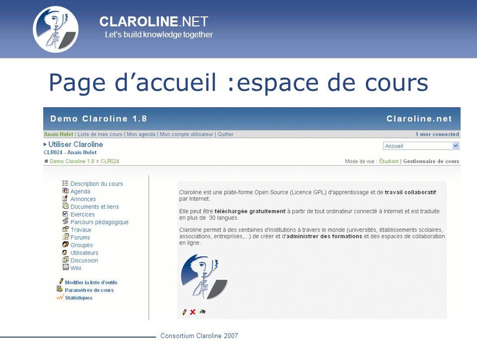 Page d'accueil :espace de cours