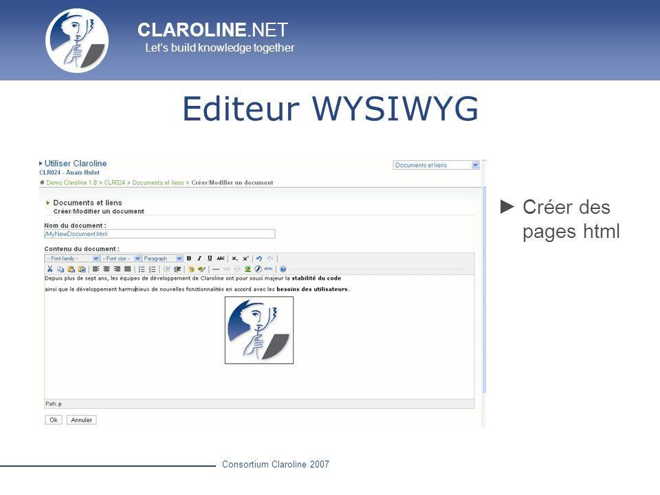 Editeur WYSIWYG Créer des pages html