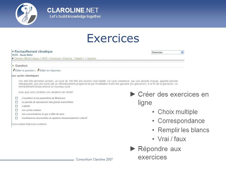 Exercices Créer des exercices en ligne Répondre aux exercices