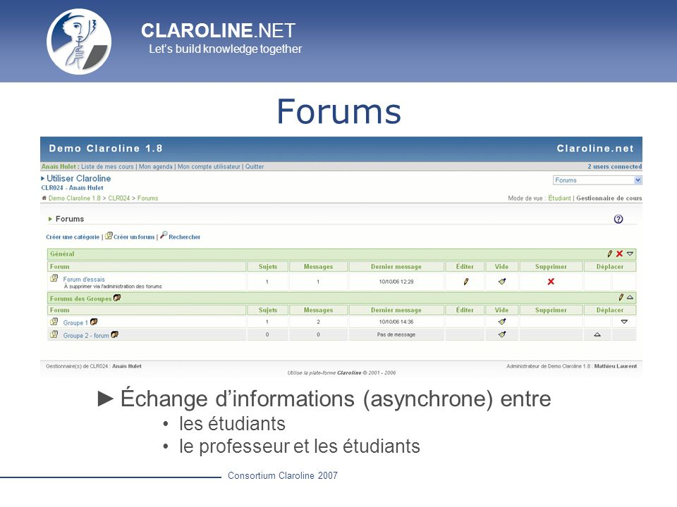 Forums Échange d'informations (asynchrone) entre les étudiants
