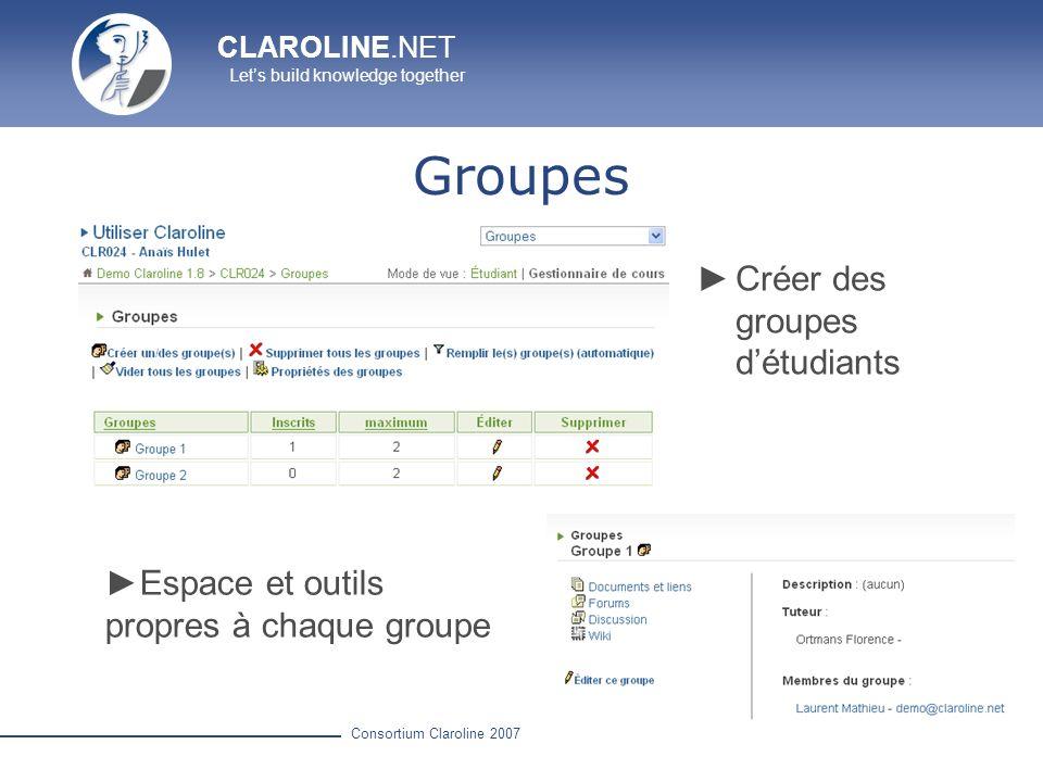 Groupes Créer des groupes d'étudiants