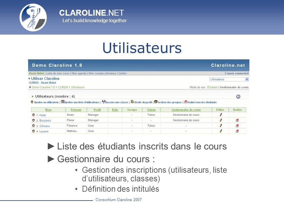 Utilisateurs Liste des étudiants inscrits dans le cours