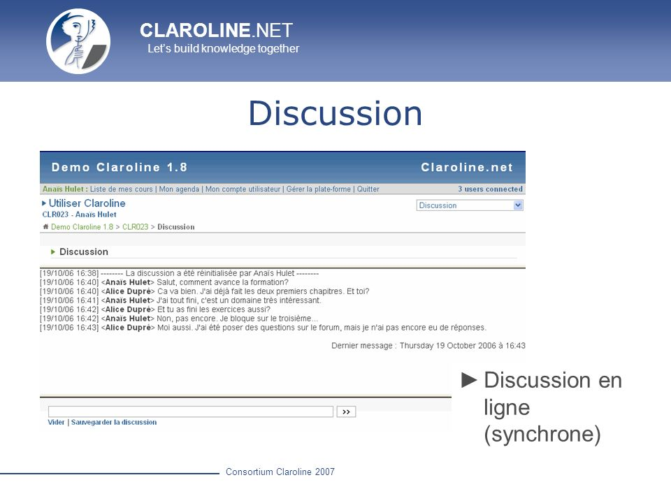 Discussion Discussion en ligne (synchrone)
