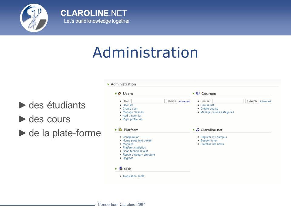 Administration des étudiants des cours de la plate-forme
