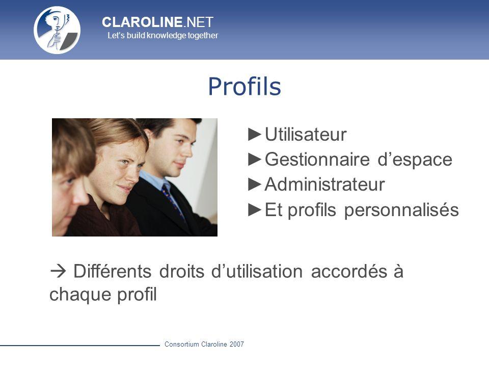 Profils Utilisateur Gestionnaire d'espace Administrateur