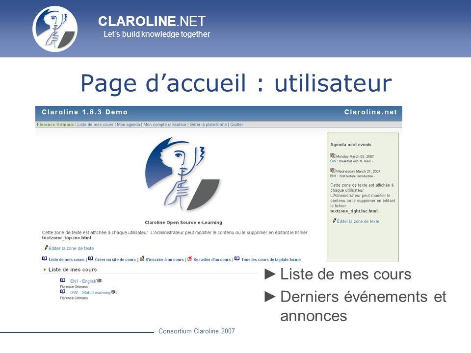 Page d'accueil : utilisateur