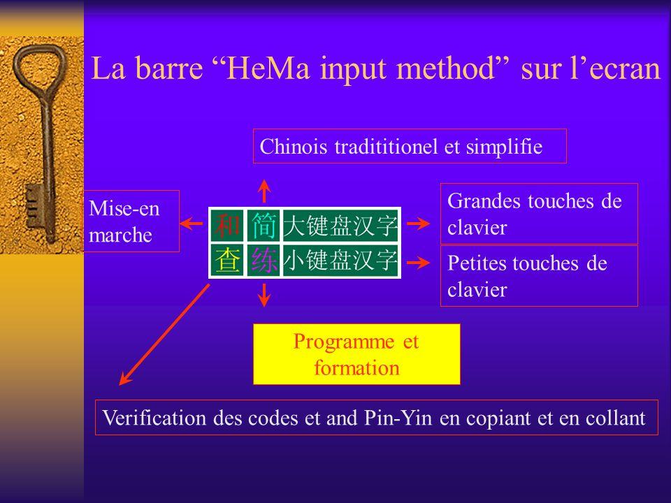 La barre HeMa input method sur l'ecran