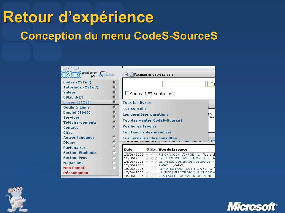 Retour d'expérience Conception du menu CodeS-SourceS