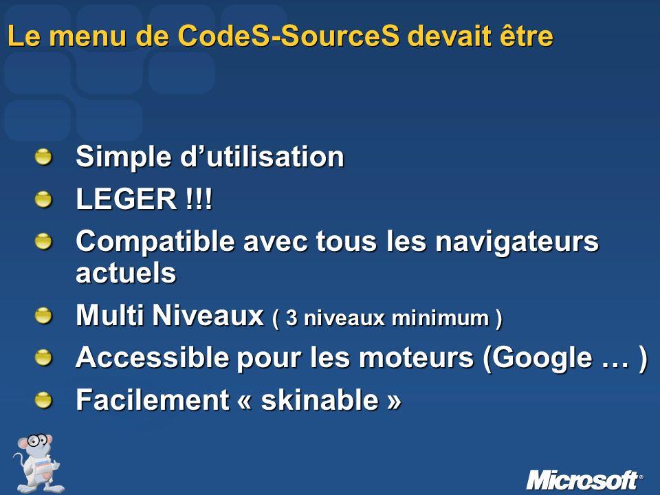 Le menu de CodeS-SourceS devait être