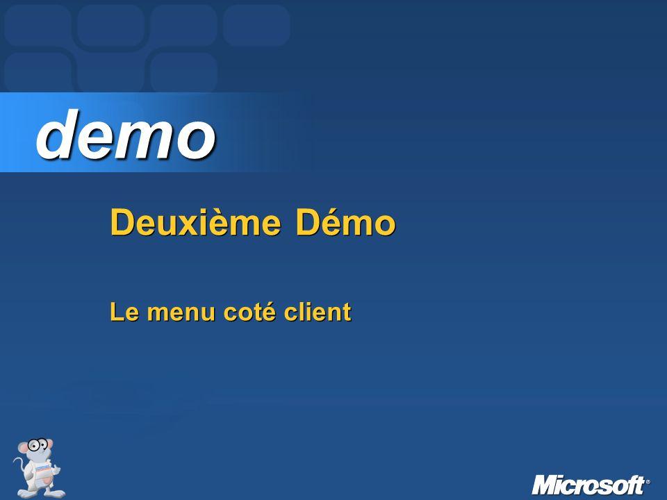 demo Deuxième Démo Le menu coté client