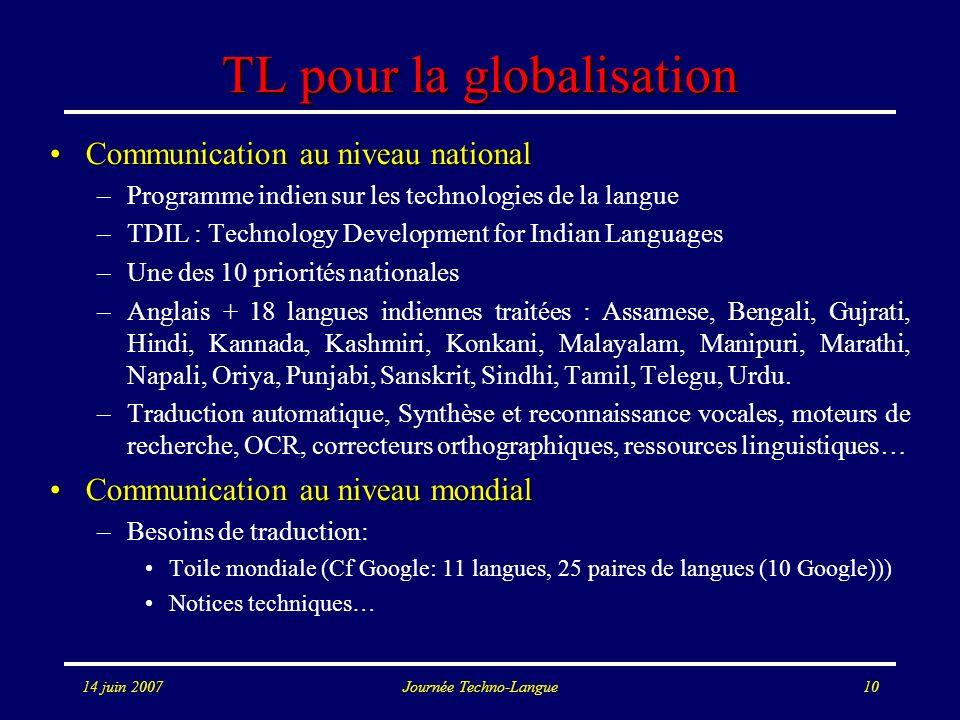 TL pour la globalisation