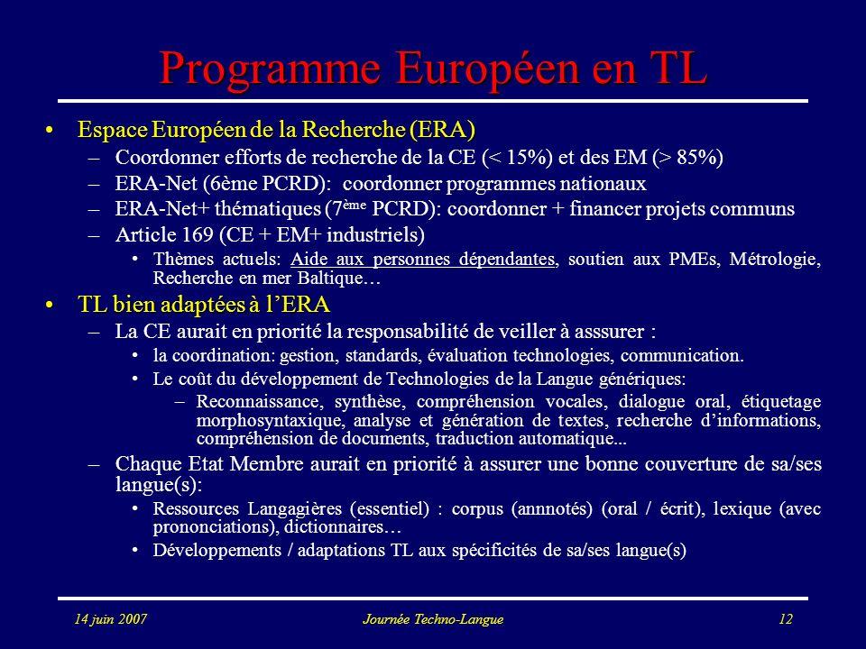 Programme Européen en TL