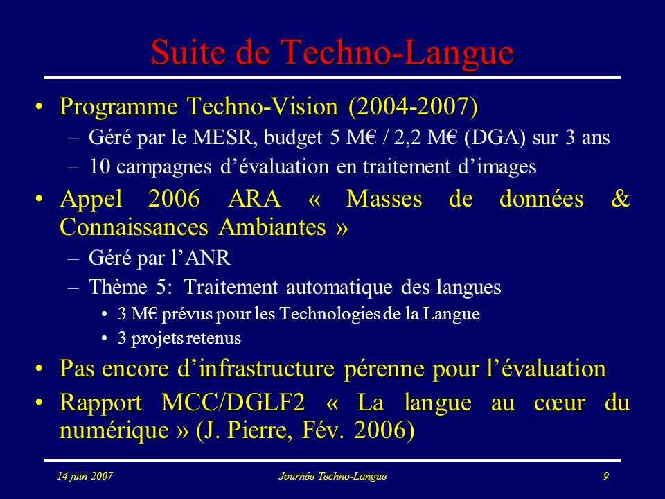 Suite de Techno-Langue
