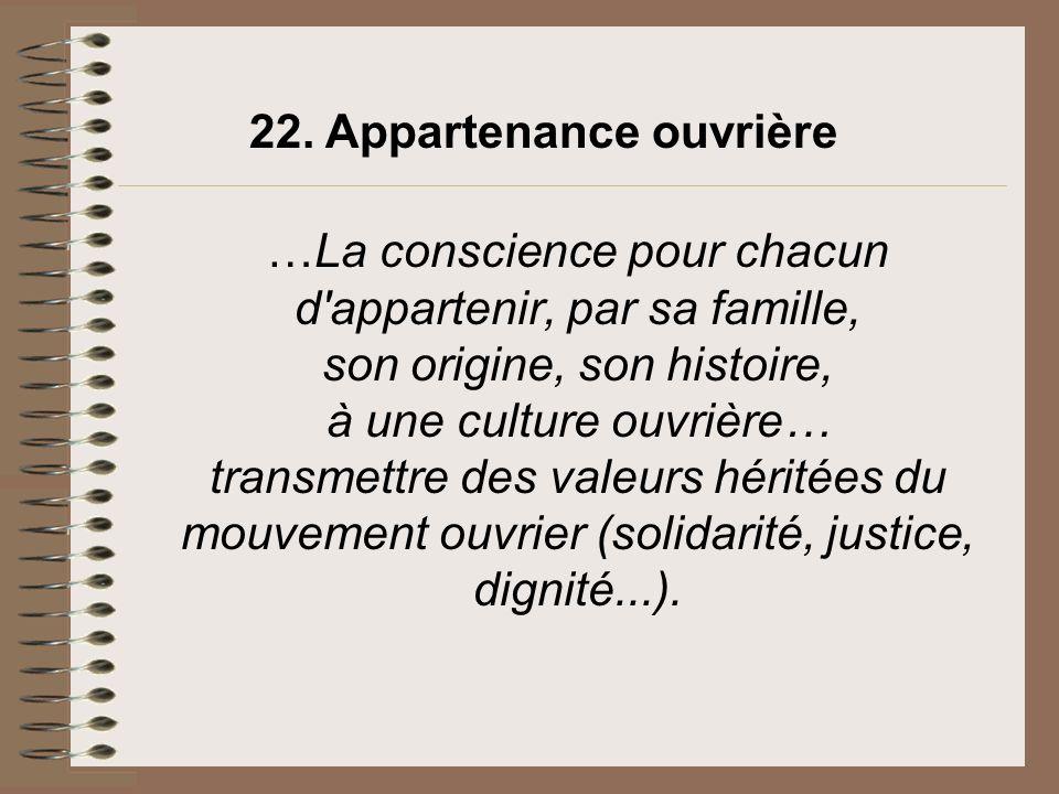 22. Appartenance ouvrière