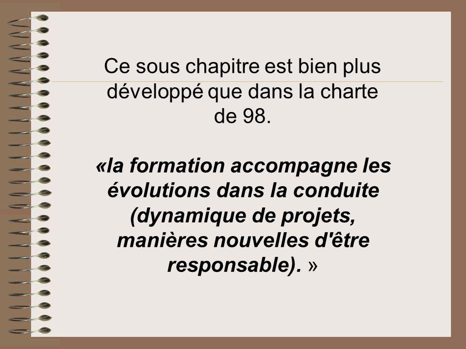 Ce sous chapitre est bien plus développé que dans la charte de 98.