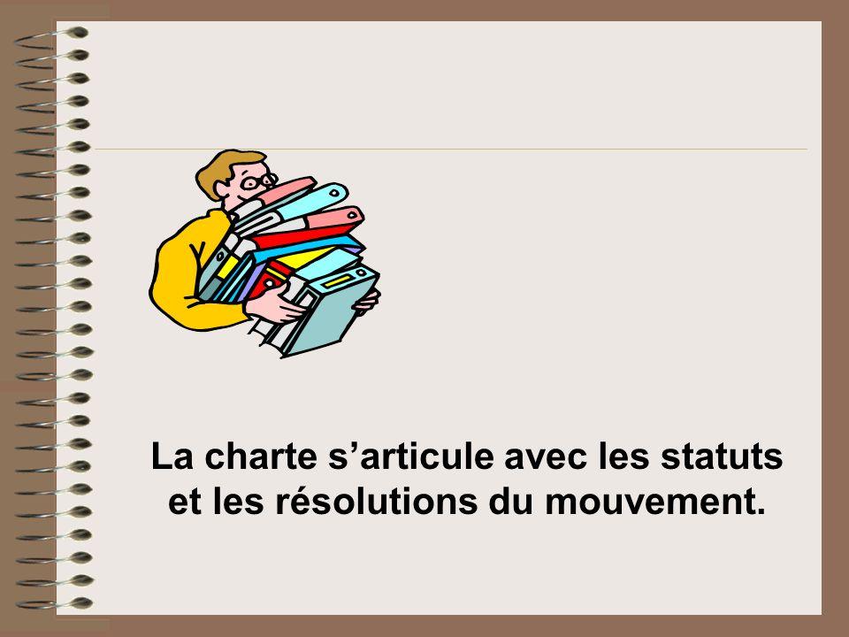 La charte s'articule avec les statuts et les résolutions du mouvement.