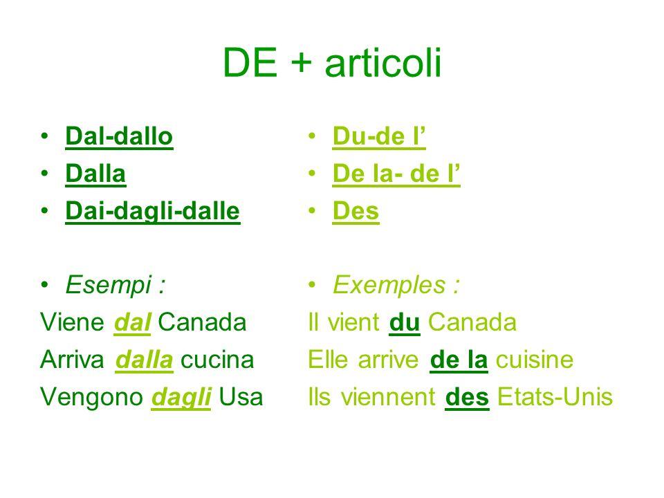 DE + articoli Dal-dallo Dalla Dai-dagli-dalle Esempi :