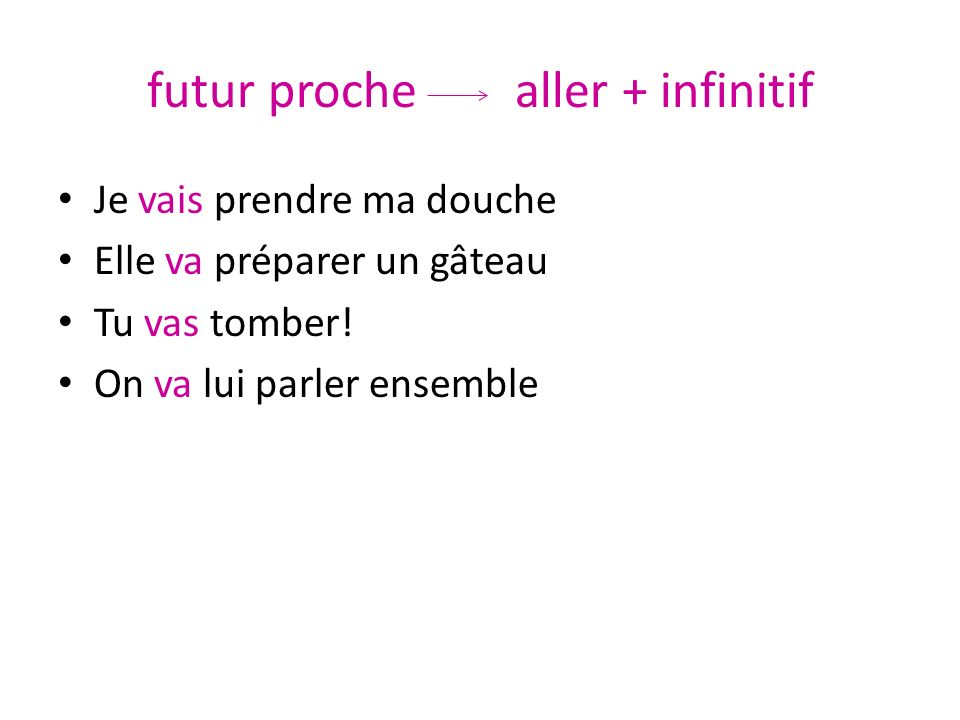 futur proche aller + infinitif