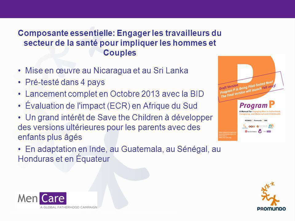 Mise en œuvre au Nicaragua et au Sri Lanka Pré-testé dans 4 pays