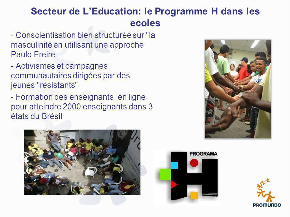 Secteur de L'Education: le Programme H dans les ecoles
