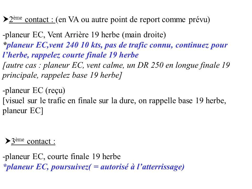 2ème contact : (en VA ou autre point de report comme prévu)
