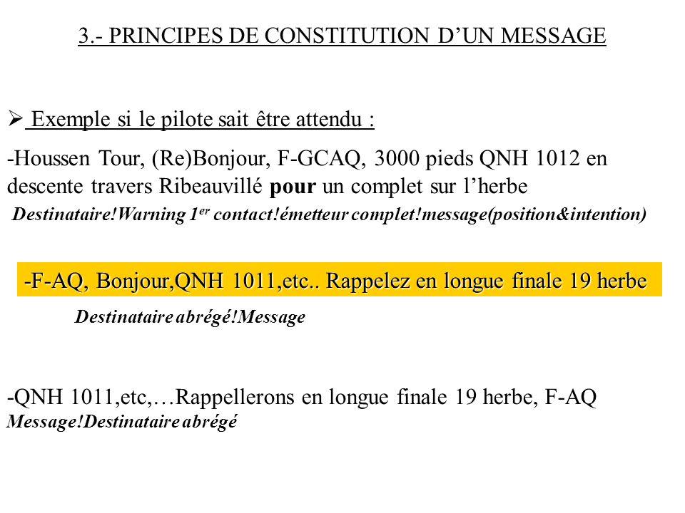 3.- PRINCIPES DE CONSTITUTION D'UN MESSAGE