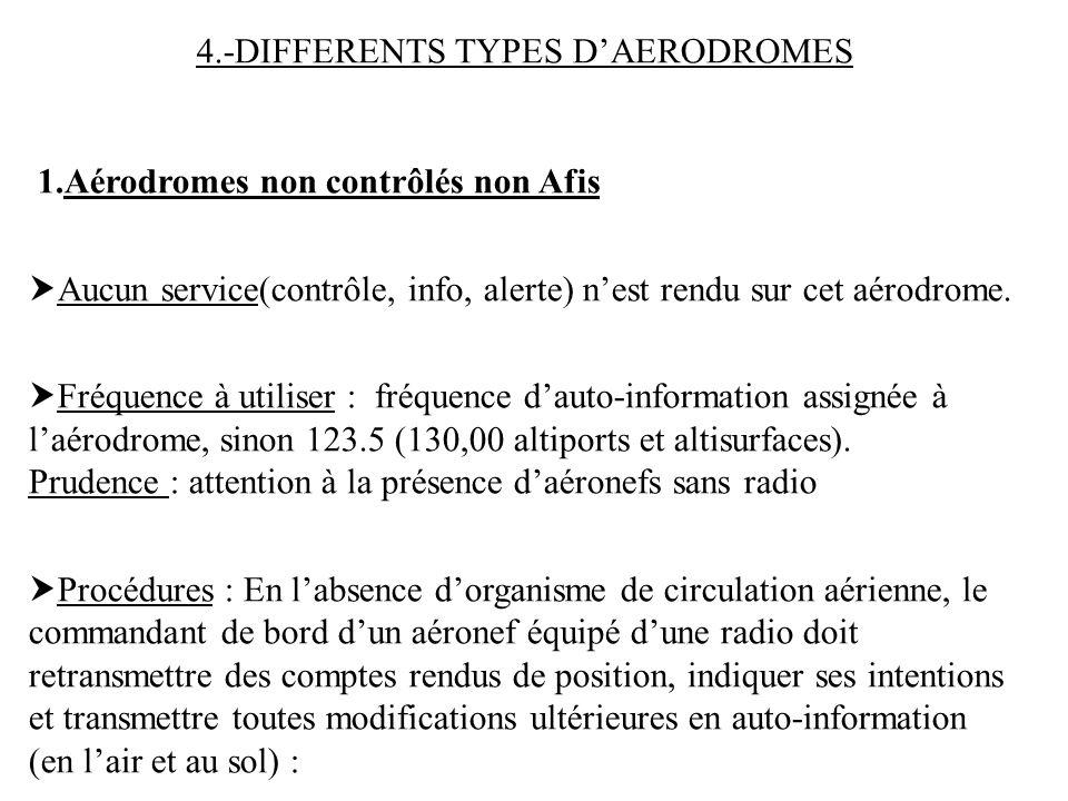 4.-DIFFERENTS TYPES D'AERODROMES