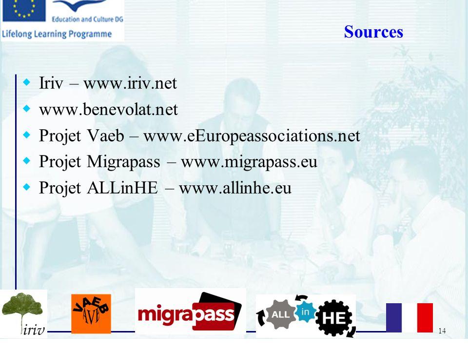 Sources Iriv – www.iriv.net. www.benevolat.net. Projet Vaeb – www.eEuropeassociations.net. Projet Migrapass – www.migrapass.eu.