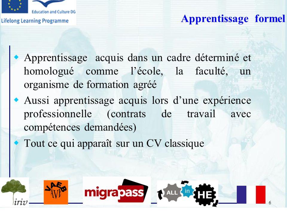 Apprentissage formel Apprentissage acquis dans un cadre déterminé et homologué comme l'école, la faculté, un organisme de formation agréé.