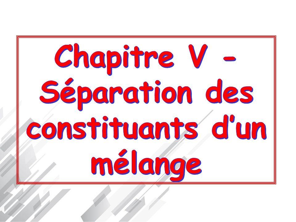 Chapitre V - Séparation des constituants d'un mélange